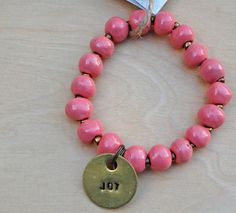 Simbi clay bead bracelet : pink