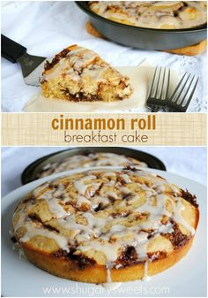 Cinnabon cinnamon roll cake: delicious breakfast recipe. Easy to make and yields TWO cakes. Freezes well
