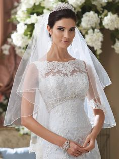 Sleeveless hand-beaded embroidered lace and tulle over satin A-line wedding dress with scalloped lace and illusion bateau neckline, softly curved bodice features jewel beaded inverted empire waistband and plunging scalloped V-back, scalloped hemline and chapel length train. Sister dress of wedding dress Anita style 113211. The Berger Collection for Mon Cheri tiara style 9621 and …