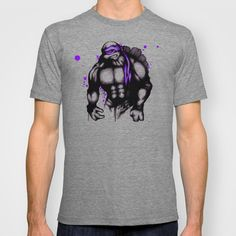 Teenage Mutant Splatter Turtle Purple T-shirt by Ludwig Van Bacon - $22.00