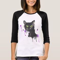 Watercolor Black Cat - 3/4 Sleeve T-Shirt  $27.90  by NaveenArt  - cyo diy customize personalize unique