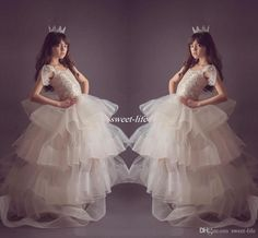 Amazing Organza Tiered Girls Pageant Dresses 2017 Ivory Cap Sleeves Ball Gown Flower Girl Dresses For Wedding Sweep Train Kids Formal Wear Flower Girl Dresses Cheap First Communion Dresses Online with $98.0/Piece on Sweet-life's Store | DHgate.com