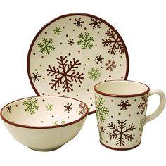 christmas dinner plate set | Christmas Snowflake 12-Piece Dinnerware Set: Kitchen & Dining ...