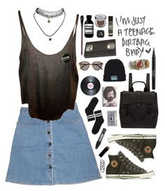 """I'm just a teenage dirtbag baby."" by shadowofday ❤ liked on Polyvore featuring STELLA McCARTNEY, Isabel Marant, Converse, Kenzo, Monki, Wet Seal, GAS Jeans, Vans, All Day and Yves Saint Laurent"