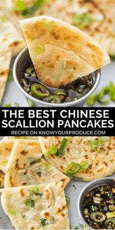 Scallion Pancakes with Dipping Sauce aka Cong You Bing (Video) Scallion Pancakes are crispy on the outside, soft and chewy on the inside! They are also known as Cong You Bing and pair perfectly with our Chinese scallion pancake sauce. Pancakes Weight Watchers, Appetizer Recipes, Dinner Recipes, Vegan Appetizers, Chinese Appetizers, Asian Recipes, Ethnic Recipes, Chinese Recipes, Chinese Meals