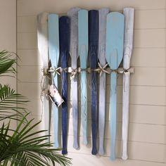 painted wood oar wall art