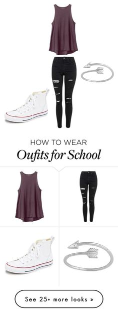 """""""Casual school"""" by mirornelas on Polyvore featuring RVCA, Topshop, Converse, womens clothing, women, female, woman, misses and juniors"""