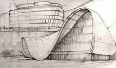 Zaha Hadid sketch, Heydar Aliyev Center, Baku, Azerbaijan, 2013 http://www.archdaily.com/448774/heydar-aliyev-center-zaha-hadid-architects