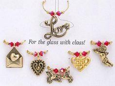 Valentine wine glass charms