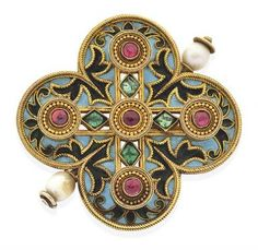 AN ANTIQUE BROOCH BY CASTELLANI Of quatrefoil design, each enamelled gem set lobe with granulated applied gold decoration, in 15ct gold. Circa 1860.