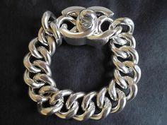 Chanel Silver Tone Metal Links Chain Bracelet