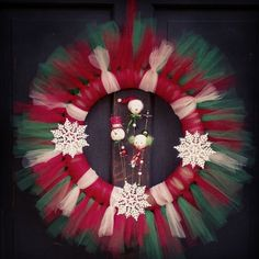 Snowman Christmas Tulle Wreath