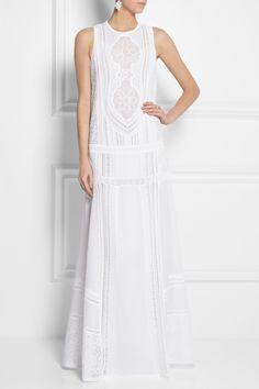 Roberto Cavalli|Cotton and crocheted lace maxi dress|NET-A-PORTER.COM