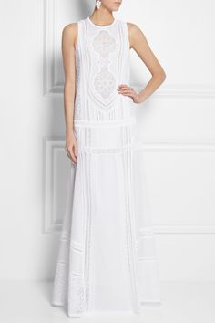 Roberto Cavalli | Cotton and crocheted lace maxi dress | NET-A-PORTER.COM