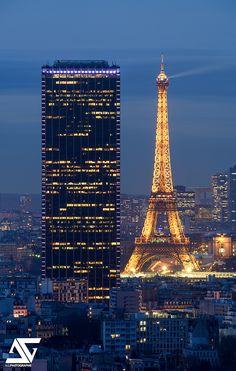 Tour Montparnasse & Tour Eiffel, Paris, France Merci à Julianoz pour l'info du point de vue Facebook / Google+ / Instagram