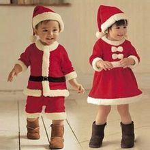 2016 New Baby Kid Boys Girls Clothing Christmas Suits Xmas Santas Clothes Hat Cosplay Outfit(China (Mainland))