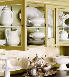 painted cabinets + white ceramics