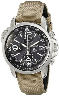 Seiko Prospex Smoke Dial SS Tan Textile Chronograph Quartz Mens Watch mens watches sale online mens watches under 100 mens designer watches online - Mens Watches - Ideas of Mens Watches Men's Watches, Luxury Watches, Cool Watches, Fashion Watches, Watches Online, Field Watches, Unique Watches, Mens Watches Under 100, Watches For Men