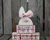 Happy Easter Spring Bunny Stacker Wood Block Set spring holiday seasonal home decor easter egg bunny gift