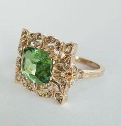 Dalben Green Tourmaline Rose Cut Diamond Gold Fashion Ring image 3