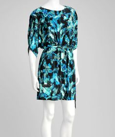 Take a look at this Teal Abstract Blouson Dress by Jessica Howard on #zulily today!