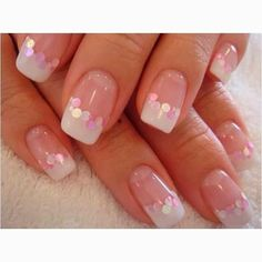 Pink and White Gel Nails | French pink and white gel nails, acrylic extensions; silver haze, gel ...