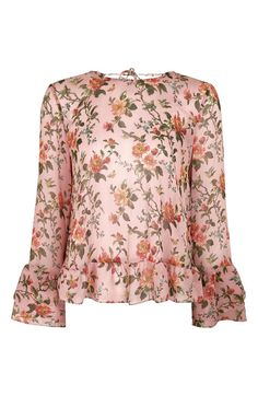 Main Image - Topshop Floral Trumpet Sleeve Blouse