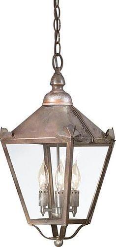 Preston - Outdoor Pendant - 19 inch - Natural Rust Finish - Clear Glass #lighting #lights