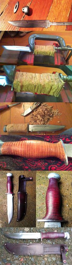 An old WWII combat knife my friend picked up from an antiques dealer. The blade was a mess, and the hilt was cracked, split, and missing several leather....