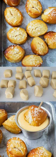 Easy Pretzel Bites - soft and chewy pretzel bites dipped with cheddar cheese soft. They are fun to m Yummy Appetizers, Appetizer Recipes, Snack Recipes, Cooking Recipes, Dinner Recipes, Easy Snacks, Quick Easy Meals, Easy Desserts, Fall Recipes