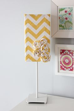 recovered lamp shade yellow chevron.. love this for my room!!!!