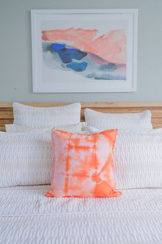 A pop of color with a Minted wall art print to add a little character to your bedroom decor.