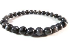 Larvikite Stretch Bracelet 6mm Smooth Round Gemstone Beads Black Labradorite Norwegian Moonstone by SandiLaneFineArt on Etsy
