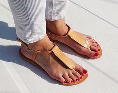 Flat Leather Sandals, Ankle Strap Leather Sandals - Handmade Greek Sandals.