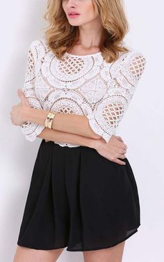 White black half sleeve lace hollow play suit