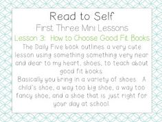 School Is a Happy Place: The Daily Five: The Big Three (Mini Lessons to Launch… First Day Activities, Word Work Activities, Literacy Activities, Daily Five Cafe, Daily 5, Good Fit Books, Read To Self, Book Outline, Literacy Stations