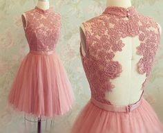 Open back lace Homecoming Dress, Dusty pink Homecoming Dress, 2016 Homecoming Dress, Short prom Dress, Short homecoming Dress, 17346