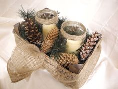 Rustic holiday candle arrangement in a box by LilyPadsAndSunshine