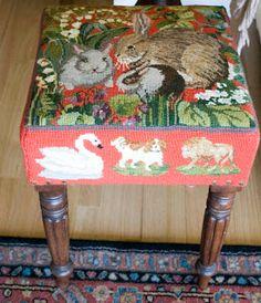 Customized Elizabeth Bradley stool using designs from   the Decorative Victorian Needlework book