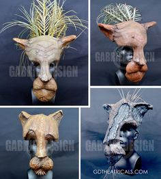 Lion King Masks - Mufasa, Simba, Nala, and Scar | gdtheatricals.com  Hand-crafted to look like hand-carved wood. Actors eyes become the eyes of the animals. Four primary character masks/headpieces available for rental, as well as a subsequent rollout of Zazu, Timon and Pumbaa, along with accompanying costume design suggestions