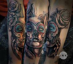 1/2 done. :). #tattoo #santa #muerte #black #rose #girl