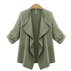 Yoins Yoins Trench Coat (200 HRK) ❤ liked on Polyvore featuring outerwear, coats, coats & jackets, green, green coat, trench coat, green trench coat and waterfall coat