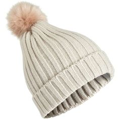45fa87de9965b7 Miss Selfridge Grey and Nude Faux Fur Pom Beanie Hat ($17) ❤ liked on