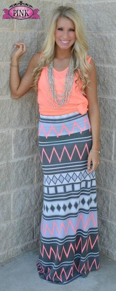 Chevron Maxi Skirt and Haute Pink top
