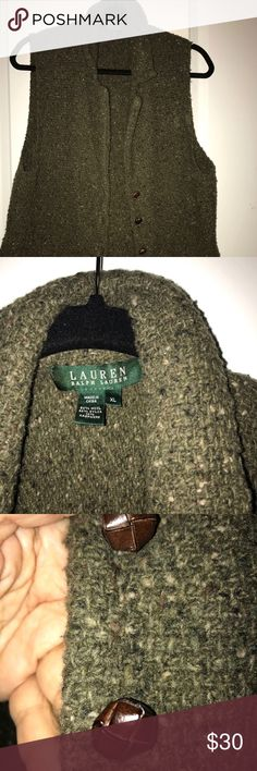Ralph Lauren wool vest. EUC. Tweed knitted vest with leather buttons . One of a time, a staple for your wardrobe.! Selling only because I lost weight and is large on me. Ralph Lauren Jackets & Coats Vests
