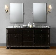 Bathroom Cabinet- Like the cabinet but with vessel sink and framed mirrors