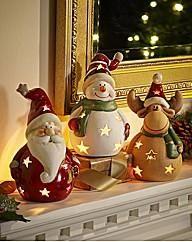 3 Pack Xmas Terracotta Tealight Holders | Marisota