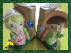 Pair  ReTrO Young Girly Colourful Painted by KressHillVintage, $29.00