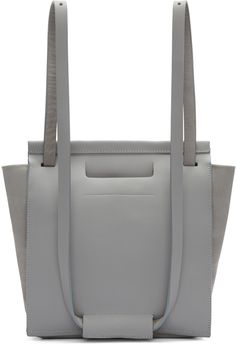 Chiyome - Grey Leather Small Tote Backpack