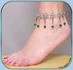 Chainmail & More Crystalweave Faerie anklet, Chain-maille ankle jewelry, Pretty steel jewellry Ankle Jewelry, Ankle Bracelets, Ankle Chain, Fairy Jewelry, Bare Foot Sandals, Chainmaille, Czech Glass Beads, Anklets, Jewelry Crafts